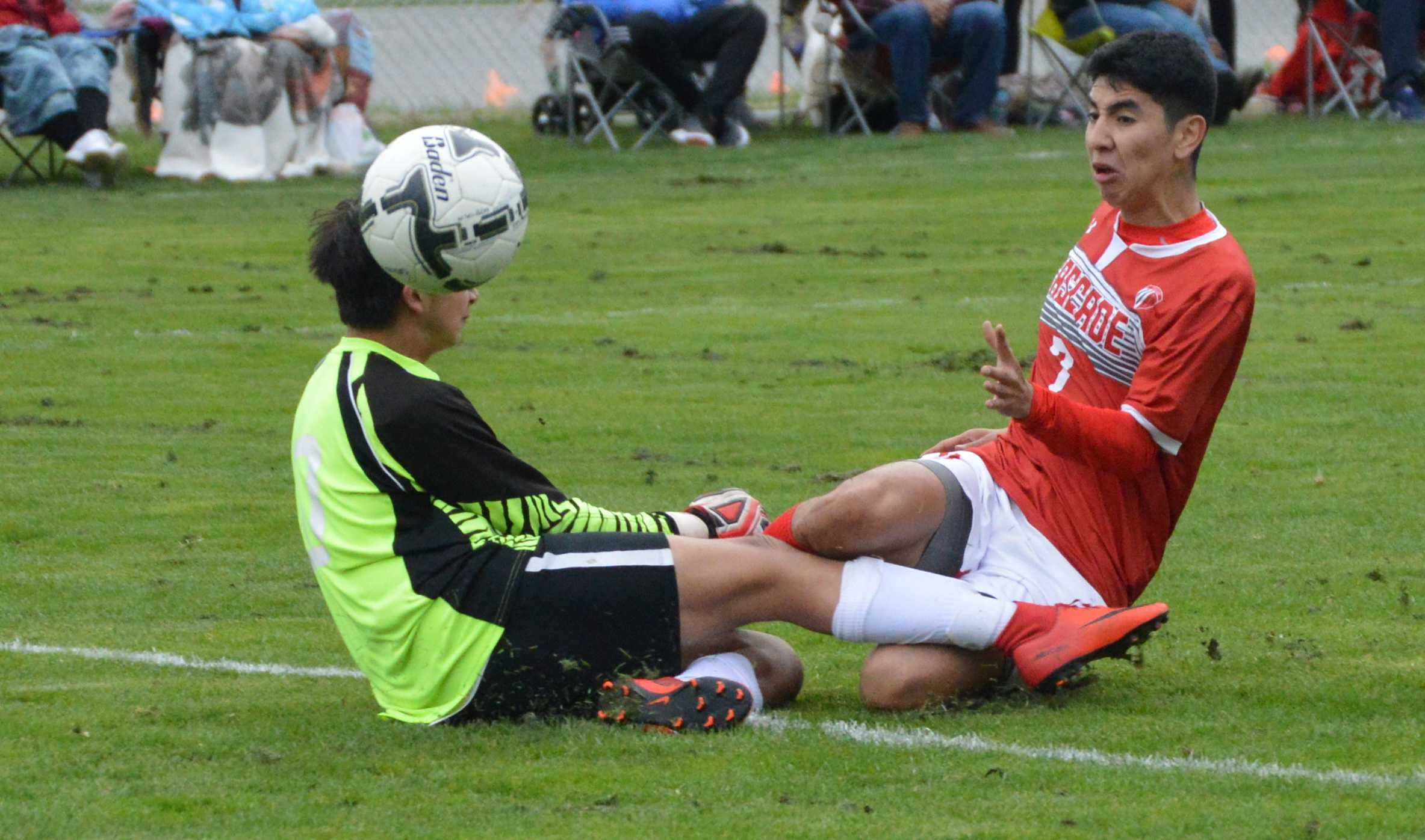 Cascade's Raul Mata watches the ball soar pasts the opposing goalkeeper on its way to the net.